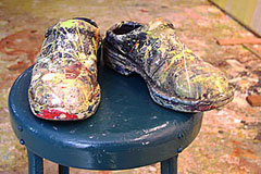 Photograph of Lorraine's shoes after painting for many hours